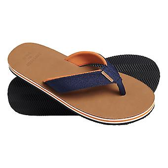 Superdry Leather Flip Flops - Navy