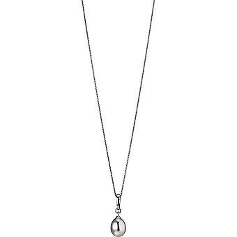 Collana di perle Adriana con pendente a clip d'acqua dolce argento bianco rodio placcato 50 cm L5