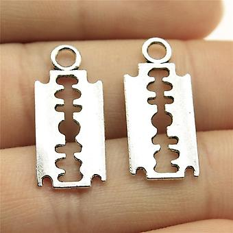 40pcs 0.9x0.4 Inch Razor Blades Charms Pendant For Jewelry Making
