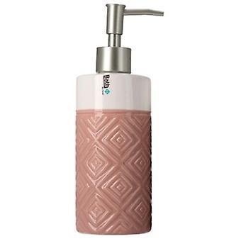 seifenspender 350 ml 6,8 x 21 cm Keramik rosa/weiß