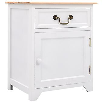 vidaXL Bedside Table White and Brown 40×30×50 cm Paulownia Wood