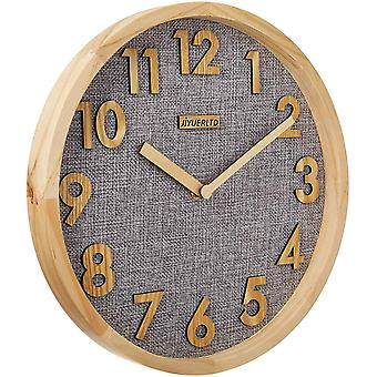 Gerui 12 inches Wall Clock Kitchen Clock Silent Non-Ticking Quartz 3D Wood Numbers Display, Wood Frame