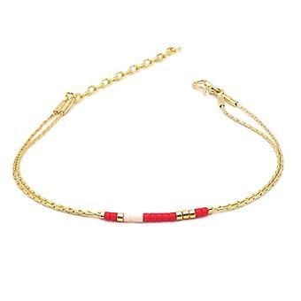Benava, women's friendship bracelet, minimalist, multiwire with Seed Bead Gold glass beads 15-19 cm, adjustable Ref. 4744999040413