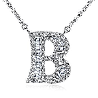 Gemshadow initial Sterling 925 silver necklace with zircon personalized letter gifts for women girls, cod. AQEN000049