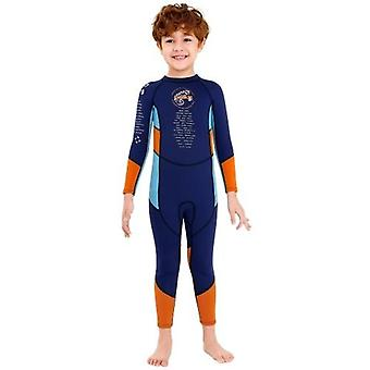 Boys Wetsuit Long Sleeve Diving Swimsuit with Safety Zipper Quick Dry One Piece Surf Suit for Water Sports