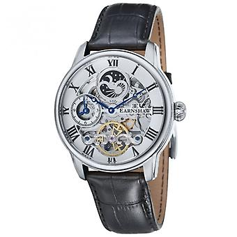 Thomas Earnshaw Es-8006-01 Longitude Silver & Black Leather Mens Automatic Skeleton Watch