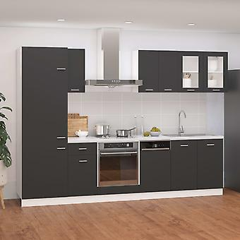 vidaXL 8-tlg. Küchenzeile Grau Spanplatte