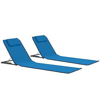 vidaXL sammenleggbar strandmatte 2 stk. stål og stoff blå