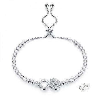 Infinity Flower Armband täckta med kristaller från Swarovski - Silver X1, Rose X1