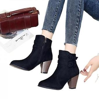 Suede Frosted High Heels Half-boot Martins For Women