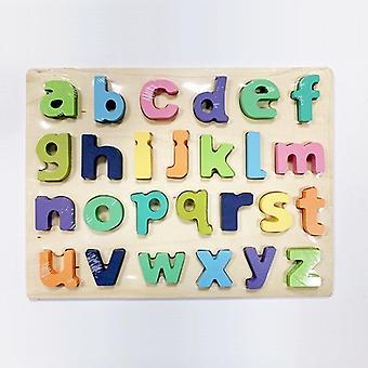 أرقام خشبية الحروف الأبجدية الشكل 3d انتزاع المجلس لغز