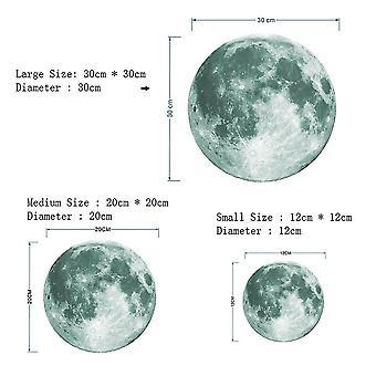Home decor decals 3d luminous moon wall sticker 30cm