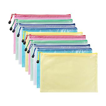 Zippered File Bags, 10 Pcs A4 Zipper Document Pouch For Storing Various Documents Materials Learning And Office Supplies
