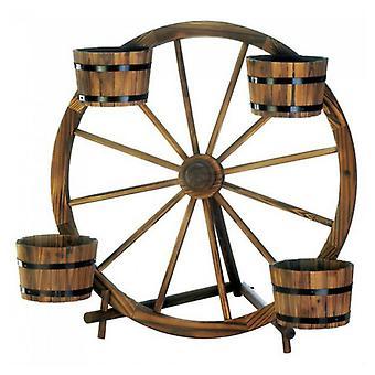Summerfield Terrace Wood Wagon Wheel Plant Display, Pack of 1