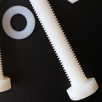 10x naturligt nylon hex huvud, M10 x 100mm, plastmuttrar och bultar, brickor, Hexagon, Nylon