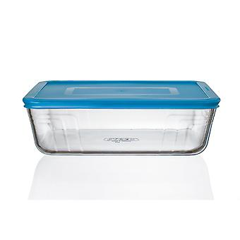 Household storage containers cook n fresh - rectangular storage dish with mid blue plastic lid - 2.6L dimensions: l25 x w20 x h