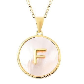 Mother of Pearl Initial F Necklace Gold Plated Silver Alphabetic Jewellery 18''