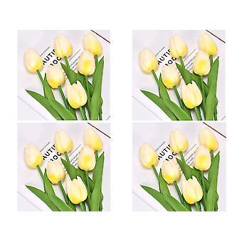 20pcs Künstliche Tulpenblumen Fake Beige Tulpenblumen Hochzeitsstrauß Haus Garten Dekoration