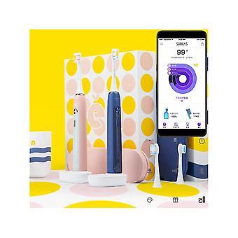 X5 Smart App Brosse à dents électrique Ultrasonic USB Wireless Charging Teeth Blanchiment Des soins d'hygiène buccale de l'écosystème-bleu