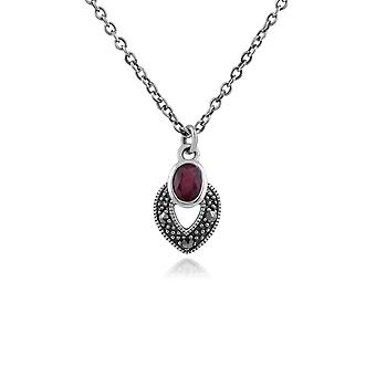 Art Deco Style Oval Ruby & Marcasite Necklace in 925 Sterling Silver 214N688211925