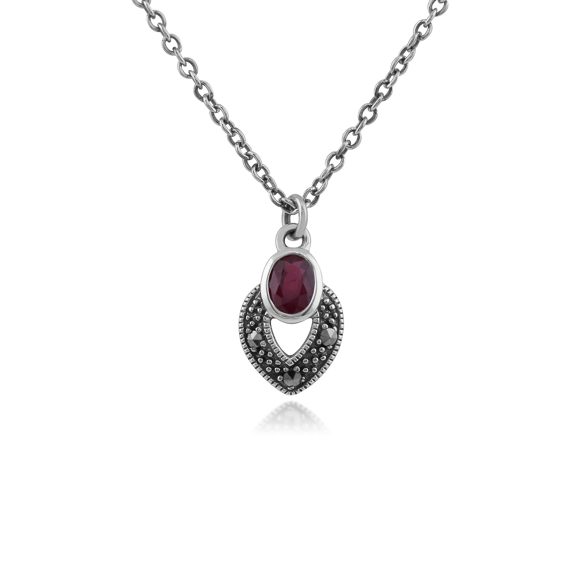 Gemondo Sterling Silver Art Deco Ruby & Marcasite Necklace