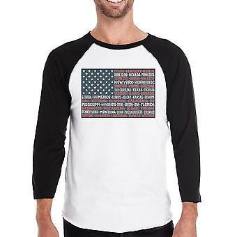 50 stelt ons vlag Mens Black grafische Raglan Tee ronde hals katoen