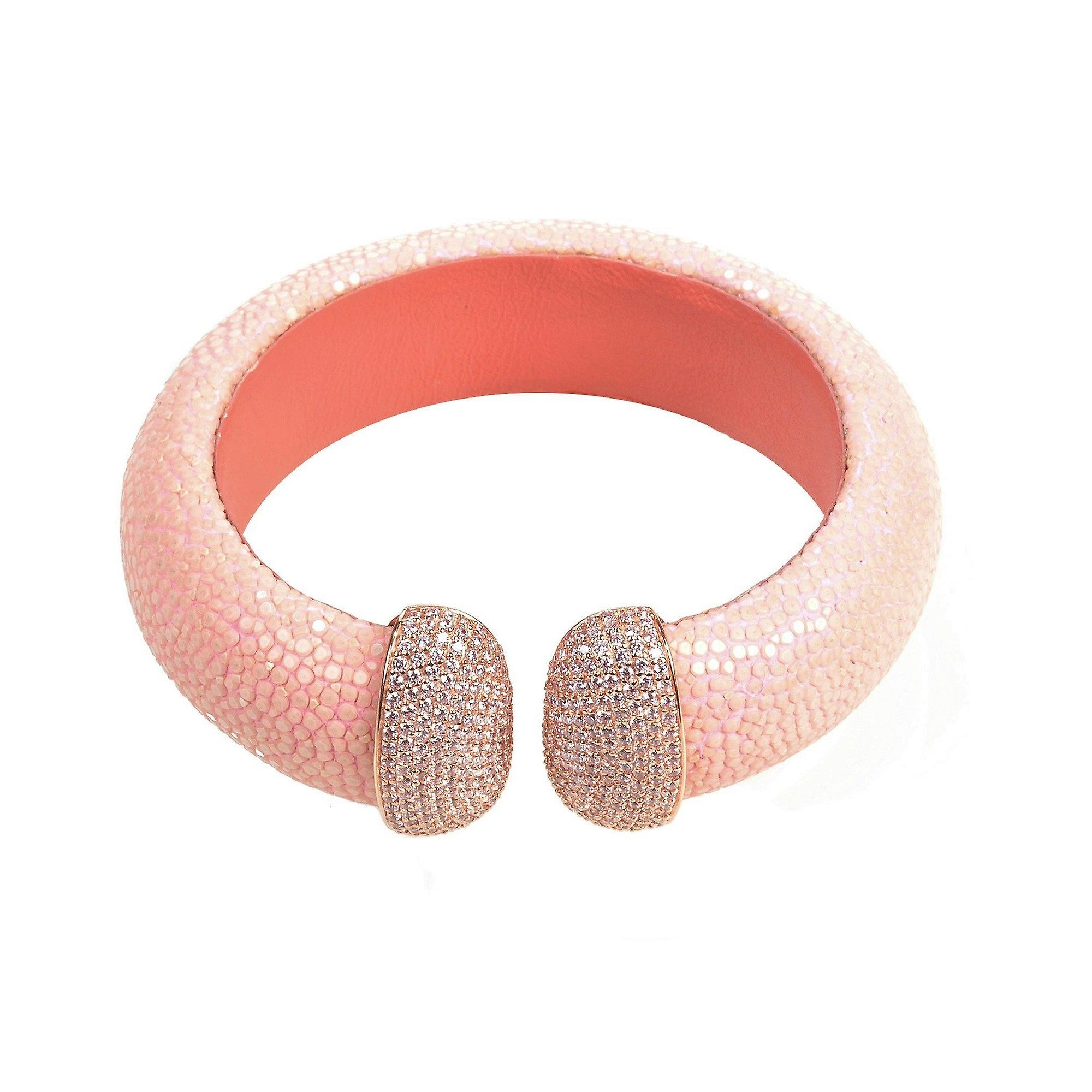 925 Sterling Silver Cuff Stingray Rosegold Pink with CZ Statement Bangle
