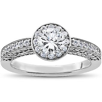 1.00 mayor de CT SI1 redondo corte diamante anillo solitarios 14k oro blanco