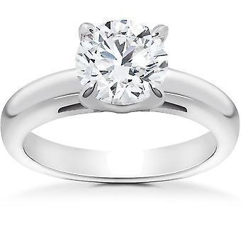 1 ct runde kutt Solitaire diamant katedralen tunge 5g forlovelsesring hvitt gull