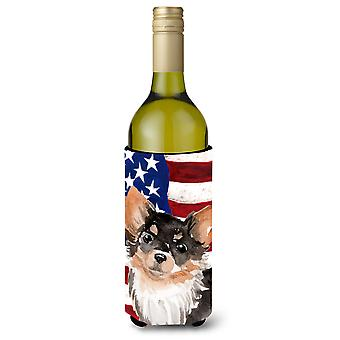 Long Haired Chihuahua Patriotic Wine Bottle Beverge Insulator Hugger