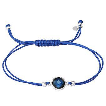Round - 925 Sterling Silver + Nylon Cord Corded Bracelets - W36207x