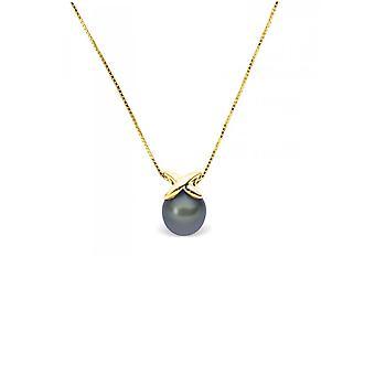 Kvinners anheng halskjede i gult gull 375/1000 og svart kultivert perle