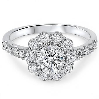 Halo de 2 1 / 6ct anillo de compromiso 14K oro blanco