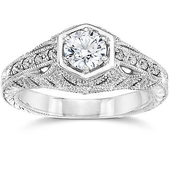 Emery .70Ct Vintage Diamond ægte Engagement 14K hvidguld