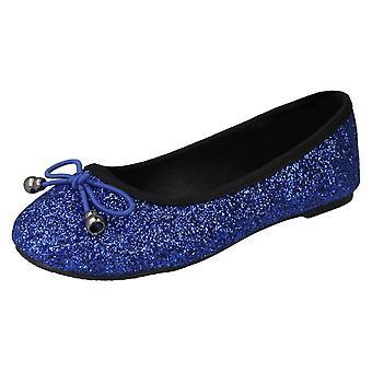 Dimensione di punto di ragazze su Glitter ballerine H2488 - blu Glitter - UK 11 - EU Taglia 29 - US dimensione 12