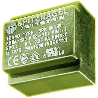 PCB mount transformator 1 x 230 V 1 x 24 V AC 0,35 VA 15 mA SPK 00324 Spitznagel