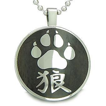 Magiske Kanji Wolf pote mot og beskyttelse tre krefter Amulet sirkel anheng halskjede