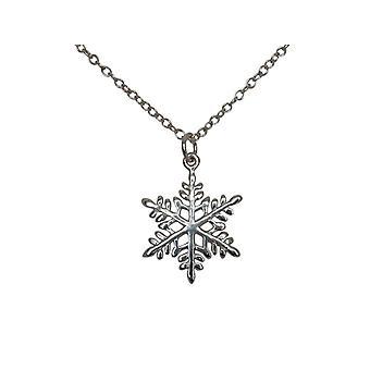 Gemshine - damer - halsband - hängsmycken - snöflinga - 925 Silver - 2 cm