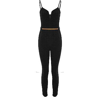 Ladies Sleeveless V Neck Cami Lurex Glitter Sparkle Belted Slim Fit Jumpsuit