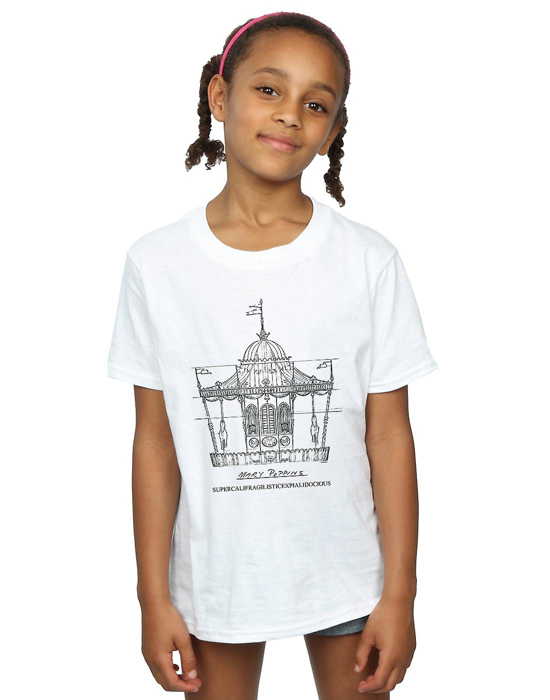Disney Girls Mary Poppins Carousel Sketch T-Shirt
