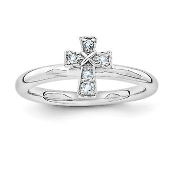 2.25mm 925 Sterling Silver Rodium pläterade stapelbara uttryck Rhodium Aquamarine Religiös tro Cross Ring Smycken Gi
