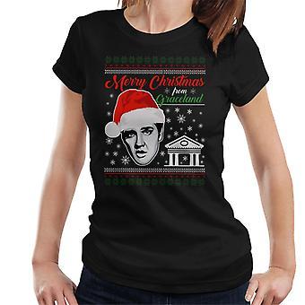 Elvis Presley Merry Christmas From Graceland Women's T-Shirt