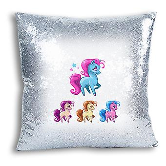 i-Tronixs - Unicorn Printed Design Silver Sequin Cushion / Pillow Cover for Home Decor - 11