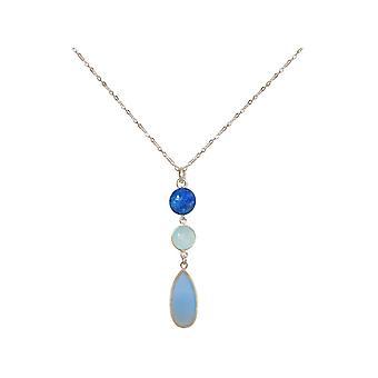 GEMSHINE halskjede chalcedony, blå lapis lazuli 925 sølv, forgylt, Rose