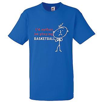 Mens I'd Rather Be Playing Basketball Royal Blue Tshirt