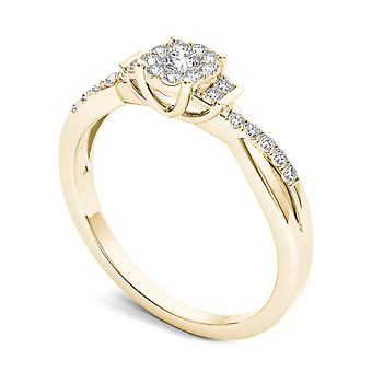 Igi certified 14k yellow gold 0.25 ct natural diamond cluster engagement ring