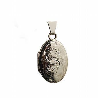 9ct Gold 22x15mm oval hand engraved Locket