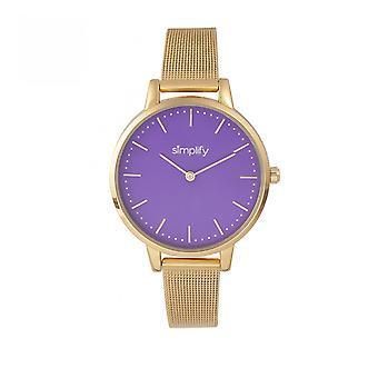 Förenkla de 5800 Mesh armband Watch - guld/lila