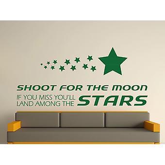 Dispárale a la luna arte etiqueta de la pared - Racing Green