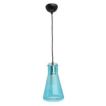 Glasberg - pendentif unique réglable en noir avec abat-jour en verre bleu 720010601